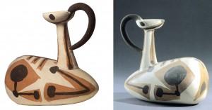 Pablo Picasso : Cabri couché, 1947. Vase zoomorphe en terre de faïence blanche. Musée Picasso Antibes
