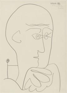 Pablo Picasso : Portrait de Michel Leiris,  28  avril 1963